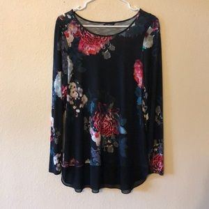 Roman Floral Long Sleeve Tunic Top